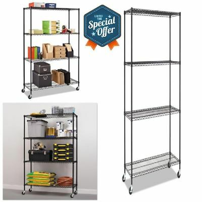 Complete Wire Shelving Unit with Casters Four-Shelf For Garage Black Anthracite