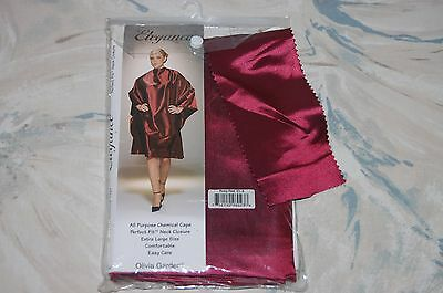 Olivia Garden ELEGANCE All Purpose CHEMICAL CAPE Ruby Red (EL-3) NEW