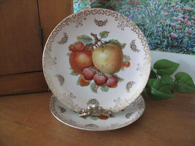 Mitterteich Bavaria Germany Fruit Plates ~ Two ~ Apples & Strawberries