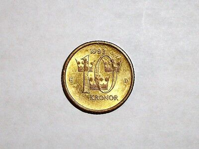 Sweden 10 Kronor, 1992 D coin  in good circulated condition