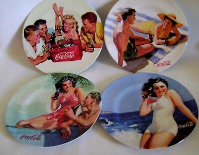 Coca Cola Salad Plates Lot 4 Melamine 8 1/2 Retro Beach Party Sexy Pin Up Girl