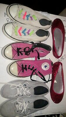 a5108c2c93 GIRLS SIZE 2 shoe lot converse vans glitter 4 pairs pink white red high top