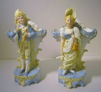 Antique French Man Woman German Bisque Porcelain Gold Beads Blue Spill Vase Set