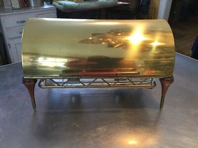 Mid Century Hollywood Regency BRASS Roll Top 3 Qt Catering Chafing Warming Dish