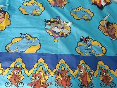 Vintage Aladdin Flat Sheet Bed Cartoon 80s twin Fabric 90s Disney Jasmine Blue
