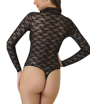 Kefali Ladies Floral Nude Mesh Lace Black Bodysuit Thong Womens String Lingerie