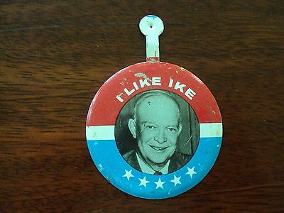 Vintage I LIKE IKE Tab Pin Button - SEAGRAM'S 7 Whiskey - Dwight D. Eisenhower