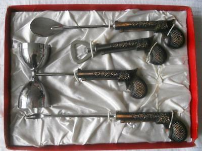 Vintage 1960'S Boxed Bar Set Bronze Effect Pistol Handles