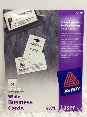 AVERY #5371 Perforated White Laser Business Cards 250 Count NEW Free Shipping