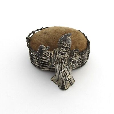 Antique Pin Cushion Silver Plate Woven Basket Figural Girl