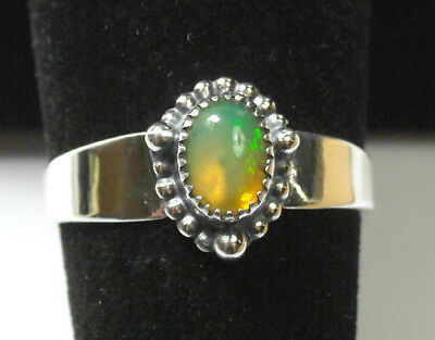 NEW Gold/Yellow Green Natural Fire Opal Solid Sterling 925 Silver Ring Size 8