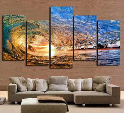 Framed Seascape Ocean Surfing Wave Sea Sunset Canvas Prints Painting Wall Art 5P