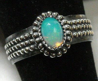 925 Sterling Silver Ring Womens Size 7.5 Natural Blue Fire Opal Green Sparkle