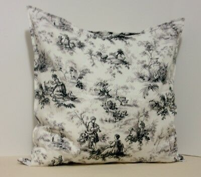 French Country Toile Pillow Cover 18 Gray Cotton Home