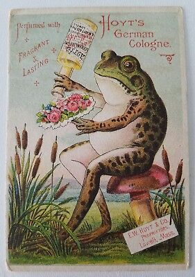 Original Victorian Trade Card Antique Advertising Hoyts German Cologne Frog