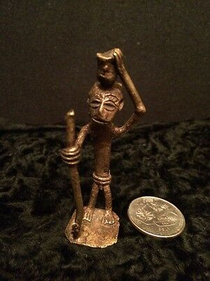 Rare! Antique African Fine Art Miniature Bronze Ritual Figurine