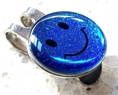 anneys *Glittery Blue smiley golf ball marker +HAT clip*