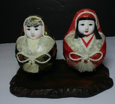 Pair Vintage Japanese Hime Daruma Doll Brocade Embroidery Gofun Face