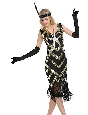 Women 1920s Flapper Short Clubwear Party Gatsby Sequins Tassel Cocktail Dresses+