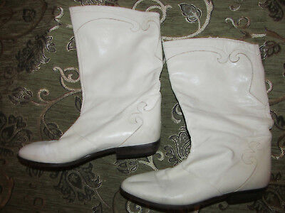 6b29f7c14f059 VINTAGE 80'S PETER KAISER pull on riding equastrian off white ivory boots 7  M