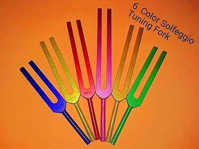 6 Sacred Solfeggio Coloured Tuning forks  Large Handle + Pouch +Fast Shipping