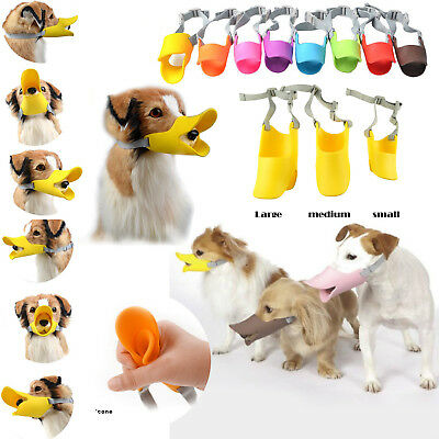 NEW Pet Puppy Dog Cat Muzzle Quack Duck Bill Design Soft Silicone Bite Stop Tool