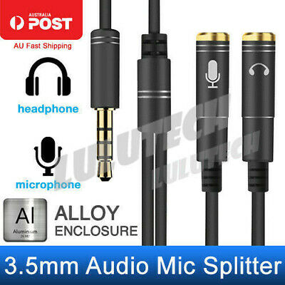 3.5mm AUX Cable Audio MIC Splitter Headphone Earphone Adapter Male to 2 Female A
