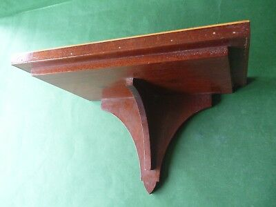 Vintage Mahogany Wood Wall Bracket Display Shelf with Lighter Cut In Inlay