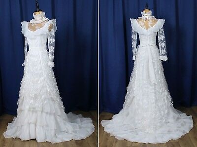 Genuine Vintage 80s Wedding Dress Gown Retro Victorian Style Boho Lace Train UK6