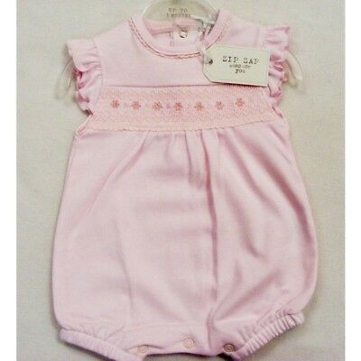 *SALE* Zip Zap Gorgeous Baby Girl Pink Flower Embroidery Smocked Romper