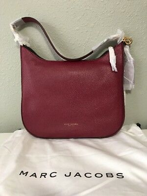 09bc693d03bc NWT  495 Marc Jacobs Gotham Women s Pebbled Leather Hobo Bag Merlot Red