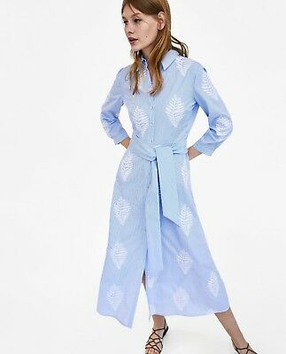 ZARA NEW STRIPED And Embroidered Tunic Dress Long Midi Shirt A-Line ...