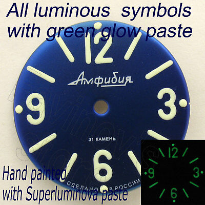 Watches-Parts: Hand Painted Superlumia  914 Dial Vostok Amphibia Green Blue Lume