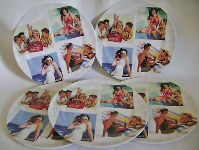 "Coca Cola Dinner Plates Lot 5 Melamine 11"" Retro Beach Party Sexy Pin Up Girl"