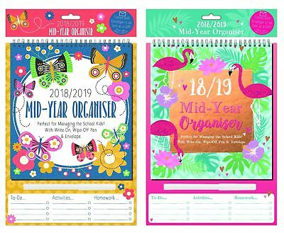 2018 2019 A4 Academic Mid Year Organiser Planner Calendar with Dry wipe pen