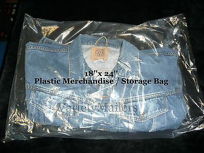 "100 Extra Large 18""x 24"" Clear Flat Plastic Merchandise / Storage Bags 1.5 Mil"
