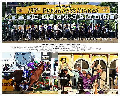 CALIFORNIA CHROME 2014 KENTUCKY DERBY AND PREAKNESS 10 x 8 PHOTO SET