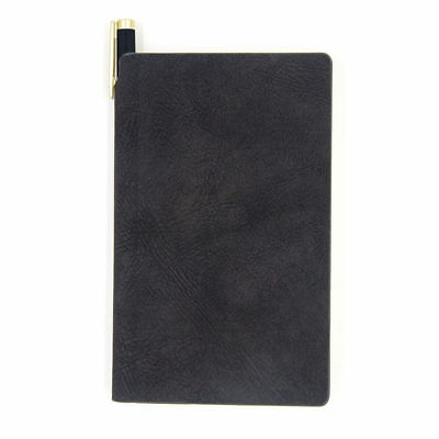 Black Writing Journal with Pen Holder Pocket A6 for Travel, 240 Wide Ruled Pages