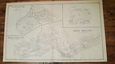 Antique MAP - LANCASTER, BERLIN FALLS & BERLIN MILLS - N.HAMPSHIRE - 1892 ATLAS