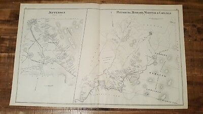 Antique MAP - JEFFERSON & PITTSBURG, HUBBARD - N.HAMPSHIRE - 1892 ATLAS