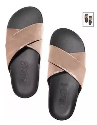 8ee105392d41a NEW VICTORIAS SECRET PINK Rose Gold Foil Criss Cross Logo Slides ...