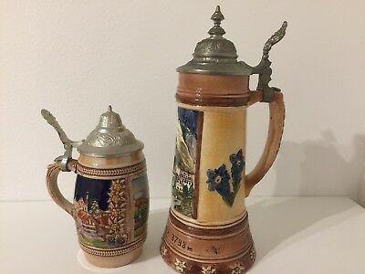 Vintage Handmade Hand painted German Ceramic Beer Stein Mugs Set