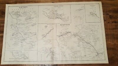 Antique MAP -LOUDON & WARNER - MERRIMACK COUNTY - N.HAMPSHIRE - 1892 ATLAS