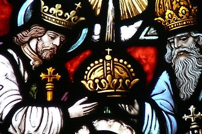 Antique Church Stained Glass Window of the Crowning of the Blessed Virgin Mary