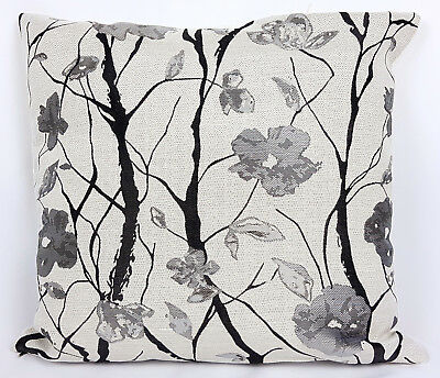 "Saybil Grey and Black Luxury Floral Design Cushion Cover 18"" x 18"" 45cm x 45cm"