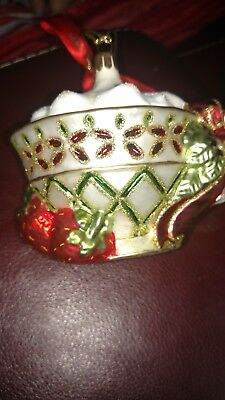 Waterford Christmas Ornaments.Vintage Waterford Holiday Heirloom Christmas Ornament Lismore Teacup