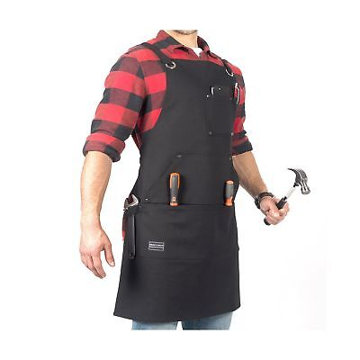 Waxed Canvas Utility Apron - Work Shop Apron with 7X Pockets, Cross-back Stra...