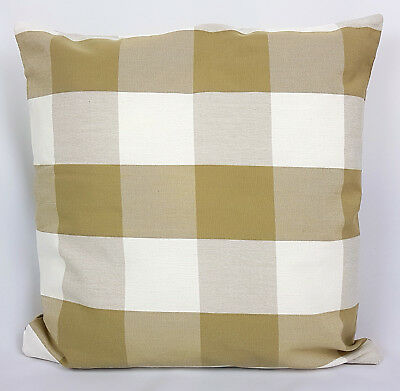 "Saybil Dark Beige and White Check Pattern Cushion Cover 18"" x 18"" 45cm x 45cm"