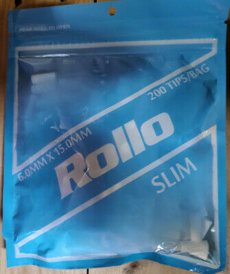 5 BAGS ROLLO SLIM SIZE 6MM LONG 20MM Cigarette Filter Tips - 200 FILTERS PER BAG