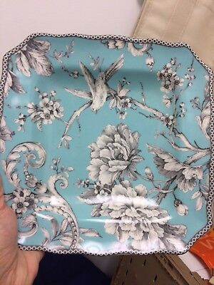 222 Fifth Adelaide Turquoise Square Salad Plate. Used
